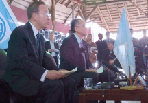 Ban Ki Moon and World Bank President Jim Kim in Goma today, via UN Photo
