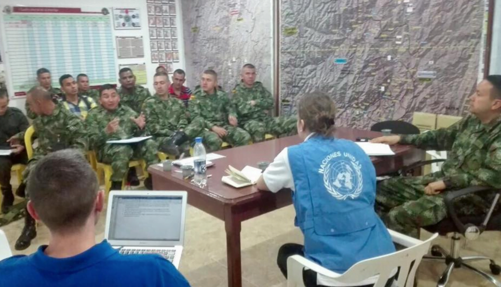 The UN Mission in Colombia is briefing military officers on its mandate to observe and help implement the peace deal
