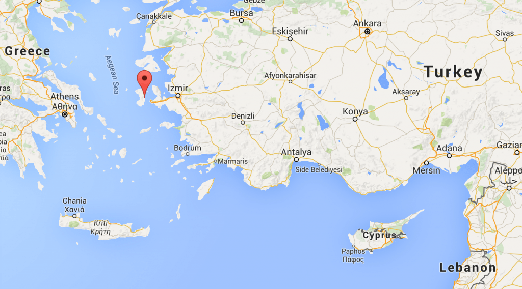 The location of Chios, just off the coast of Turkey